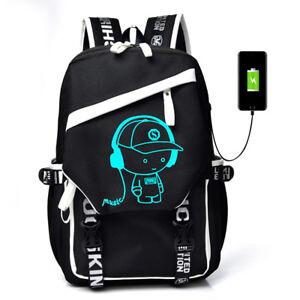 922e53a8fcb0 Image is loading Night-Luminous-Backpack-Boys-Girls-USB-Charging-Bookbag-