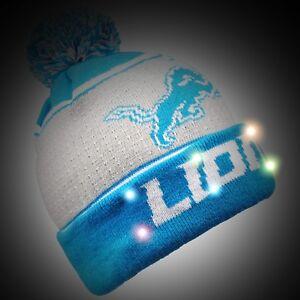 3ad68d6205d Detroit Lions Big Logo Light Up Beanie Winter Hat Toque Cuffed Pom ...
