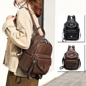 Convertible-Real-Leather-Small-Backpack-Rucksack-Daypack-Shoulder-bag-Purse-Cute
