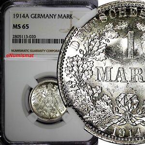 Germany-Empire-Wilhelm-II-Silver-1914-A-1-Mark-NGC-MS65-TONING-GEM-BU-KM-14