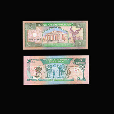 p2   FIRST ISSUE !! MINT UNC SOMALILAND BANKNOTES  SET  5  /& 10 SHILLINGS  p1