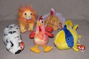 5 TY Beanie Babies Fish Chicken Turkey Pig Lion Oriel Strut Tommy Stubby Bushy