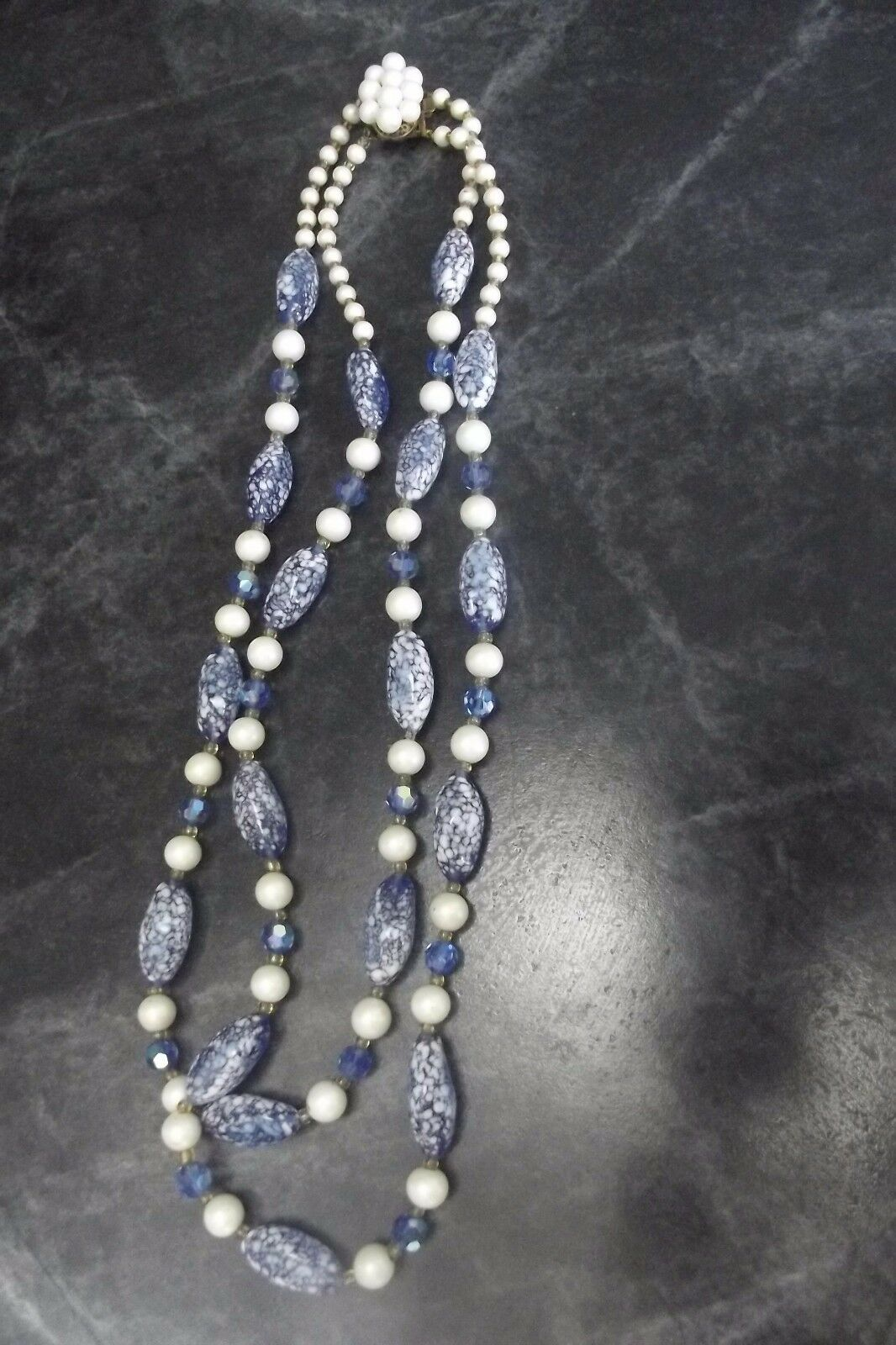 COLLIER ANCIEN 2 Rangs en Chute Perles Murano  Pâte de Verre blue