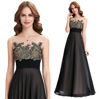 Vintage Chiffon Black Long Prom Formal Evening Party Ball Gown Bridesmaid Dress
