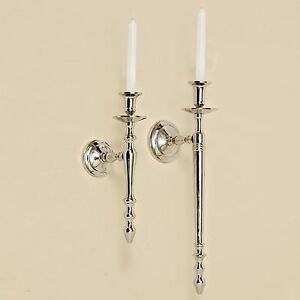 wall candlesticks 12 5 8in nickel plated silver mounted candle holder sconces 4020606002747 ebay. Black Bedroom Furniture Sets. Home Design Ideas
