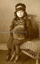 RPPC DARLING GIRL w FUR MUFF & HAT RATTAN CHAIR ANTIQUE PHOTO POSTCARD