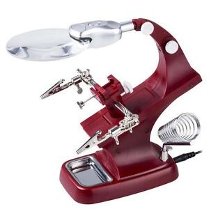 Helping-Hand-Magnifying-Soldering-LED-Light-Iron-Stand-Lens-Magnifier-Glass-SA