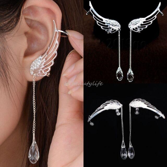 Angel Wing Shape Rhinestone Ear Cuff U Clip Silver Plated Earrings Stud 1PC