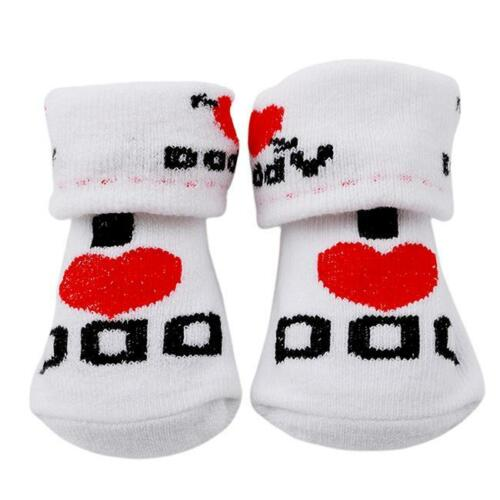 White Infant Socks For 0-6 Months Baby Boy Girl Newborn I Love Mum Dad Socks YW