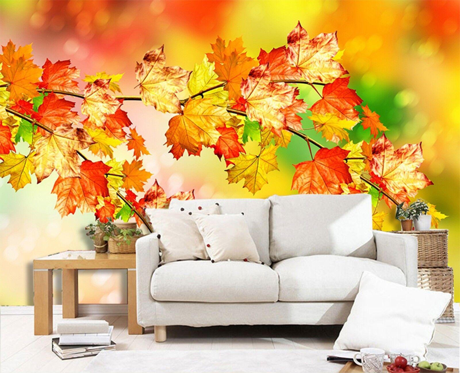 3D Ahornblätter Herbst 933 Tapete Wandgemälde Tapeten Bild Familie DE Lemon