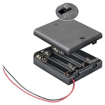 S866 - 2 Pezzi Portabatterie 4x Mignon Aa Batteria Chiuso Con Interruttore Giada Bianca