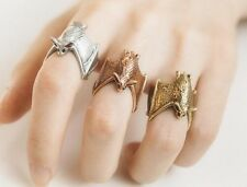 Retro Bat Wrap Around Ring (Antique Silver Plated)