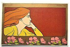 Henri Meunier Beautiful WOMAN Eglantier Inspiration Early UDB Gold Postcard