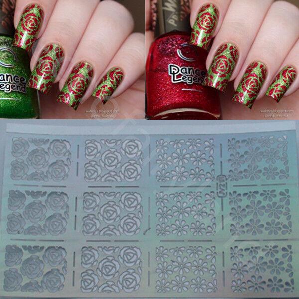 12 Tips/Sheet Nail Vinyls Rose Flowers Nail Art Stencils Holo Nail Sticker JV218