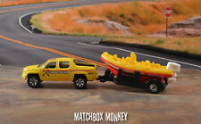 Brand NEW! Yellow Honda Ridgeline Pickup Truck w/ Fishing Boat + trailer 1:64 HO