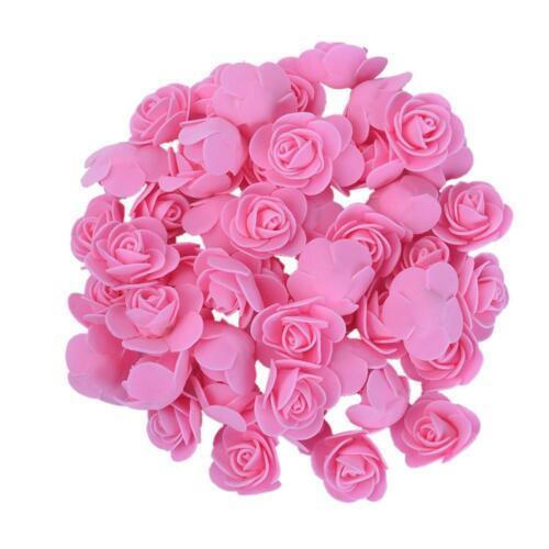 50Pcs Fake Artificial Foam Rose Flower Heads Blossom Party Home Room Decor LOT.