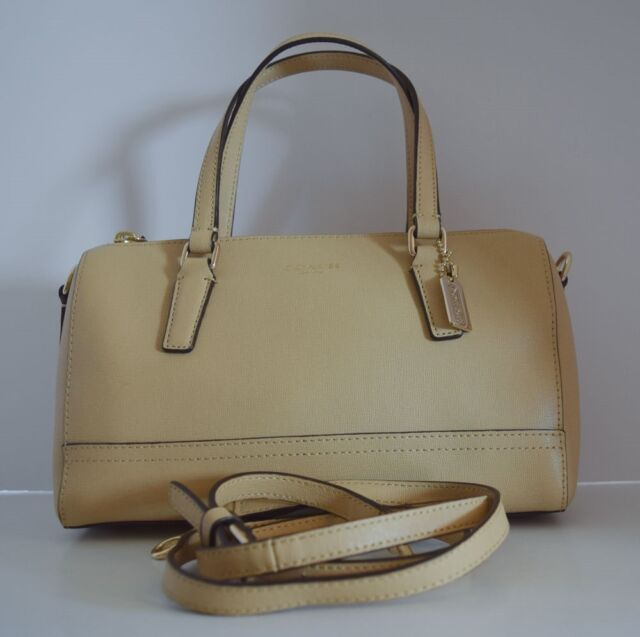 d3814facc8119 Coach 49392 Saffiano Leather Mini Satchel Crossbody Tan Beige Handbag Bag  Purse