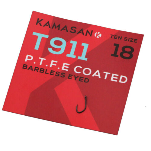 Kamasan T911E PTFE Hook Eyed Barbless ALL SIZES