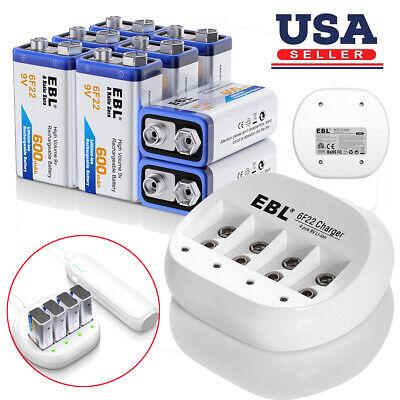 EBL 2x 600mAh 6F22 9V Li-ion Rechargeable Batteries 9 VOLT USB Battery Charger