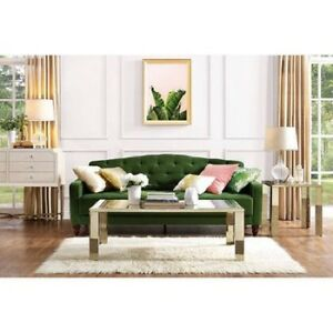 Vintage Tufted Sofa Sleeper Bed Couch Furniture Living Room Lounger Green Ebay