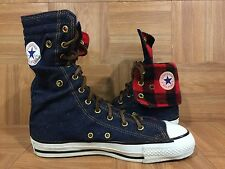 RARE���� Converse Chuck Taylor Denim Leather XHI Tall Boots Sz 6.5 Made In USA