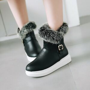 Women-Winter-Warm-Fur-Snow-Boots-Platform-Buckle-Faxu-Leather-Ankle-Boots-Shoes