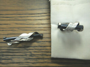 Cuff-Links-Tie-Clasp-Vintage-Hickok-USA-Mens-Jewelry-Set-Silver-Tone-Black