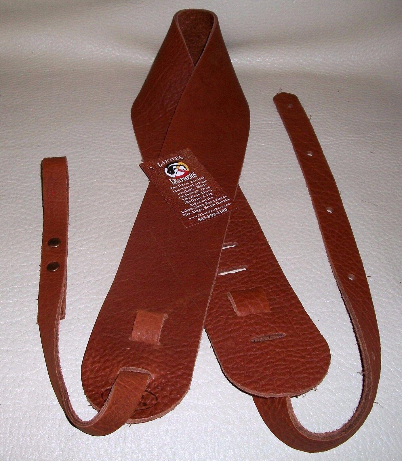 Lakota Leathers Buffalo Leather Dobro Guitar Strap 3  Resonator Tobacco