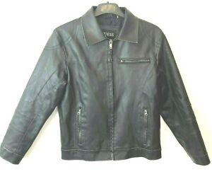 GUESS Mens Medium Faux Leather Jacket Black