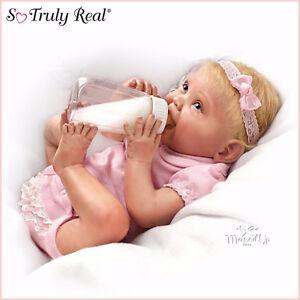 Ashton Drake Tippy Toes Lifelike Baby Doll Feeding Bottle Nappy