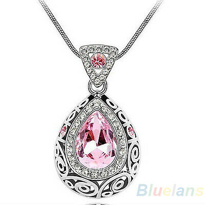 Womens Crystal Rhinestone Drop Retro Vintage Pendant Necklace Chain Fashion B54U