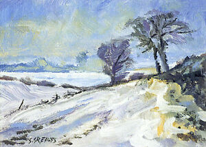 Wentworth-Snow-POSTCARD-Steve-Greaves-Acrylic-Art-Snow-Winter-Scene-Card-Xmas