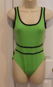 new-in-pkg-Newport-News-sunstreak-neon-green-tank-style-1-piece-swimsuit-size-10