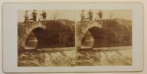 Famille Su Un Pont Francia Foto Stereo Amlateur P49p1n Vintage Citrato c1900