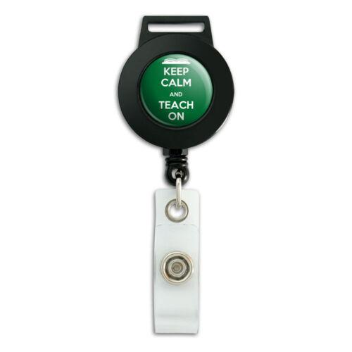 Keep Calm And Teach On Lanyard Retractable Reel Badge ID Card Holder