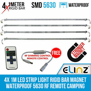 Elinz 4x 1M LED Strip Light Rigid Bar Magnet Waterproof 5630 RF Remote Camping