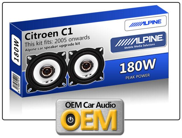 """Citroen C1 Front Dash speakers Alpine 10cm 4"""" car speaker kit 180W Max"""