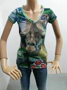 Maglia-DESIGUAL-Donna-Taglia-Size-XS-T-shirt-Woman-Maglia-Manica-Corta-EstaT7941