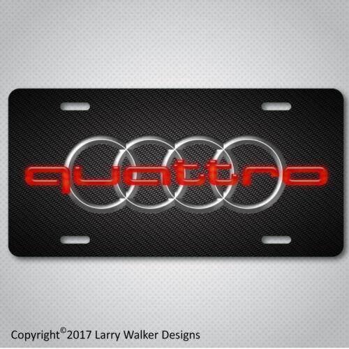 AUDI Quattro Glowing Red Carbon Fiber Look Aluminum License Plate Tag New