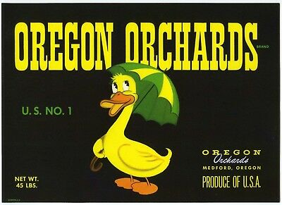 Original vintage pear crate label 1940s Mountain Mt Pitt Medford Oregon Scarce 12 Size