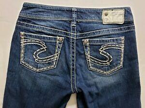 Silver-Jeans-Suki-Womens-Blue-Denim-Size-27-x-32-Boot-Cut-Dark-Wash-Mid-Rise