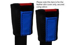 BLACK & BLUE 2X SEAT BELT LEATHER SKIN COVERS FITS PORSCHE 924 944 1975-1991