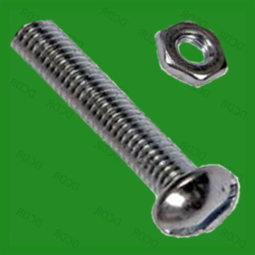 "Nut /& Bolt Set Zinc Plated 20x 2BA 1/"" Slotted Round Head Steel Machine Screws"
