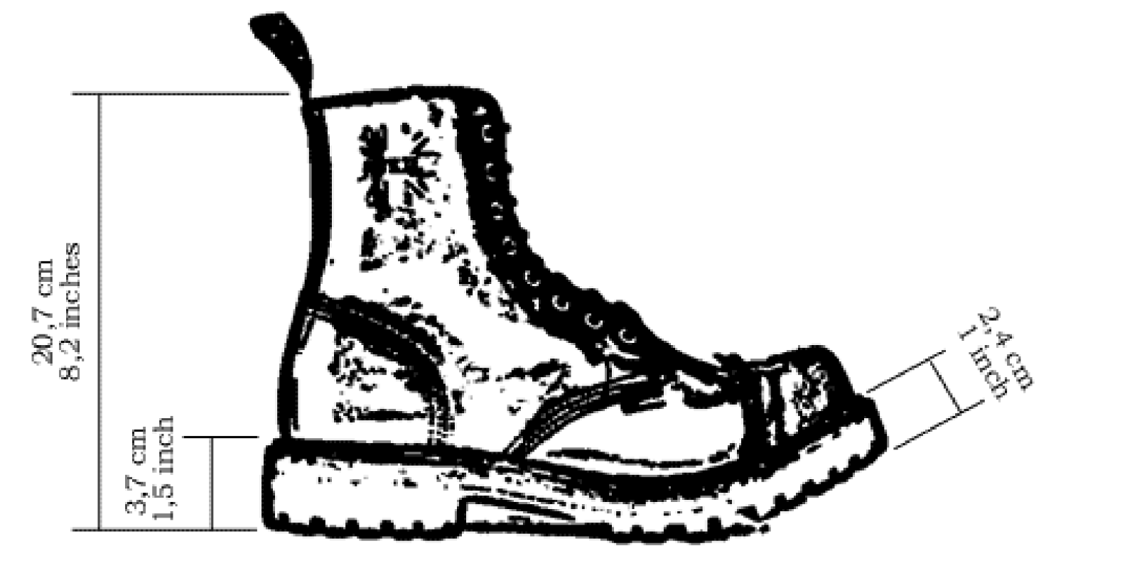 STEEL Black 8 Eyelet Boots UK12, Steel screws Capped Dble stckd sole with lugs & screws Steel 05d242