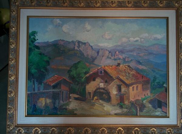 """""""rupit"""", Salvador Arís, óleo Sobre Tela 46x65, Incluye Marco, Perfecto Estado"""