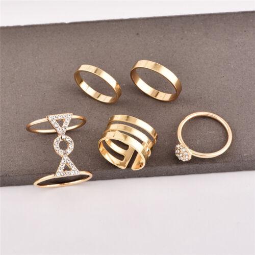 5Pcs//Set Crystal Gold Above Knuckle Fashion Finger Rings Vintage Boho Jewelry