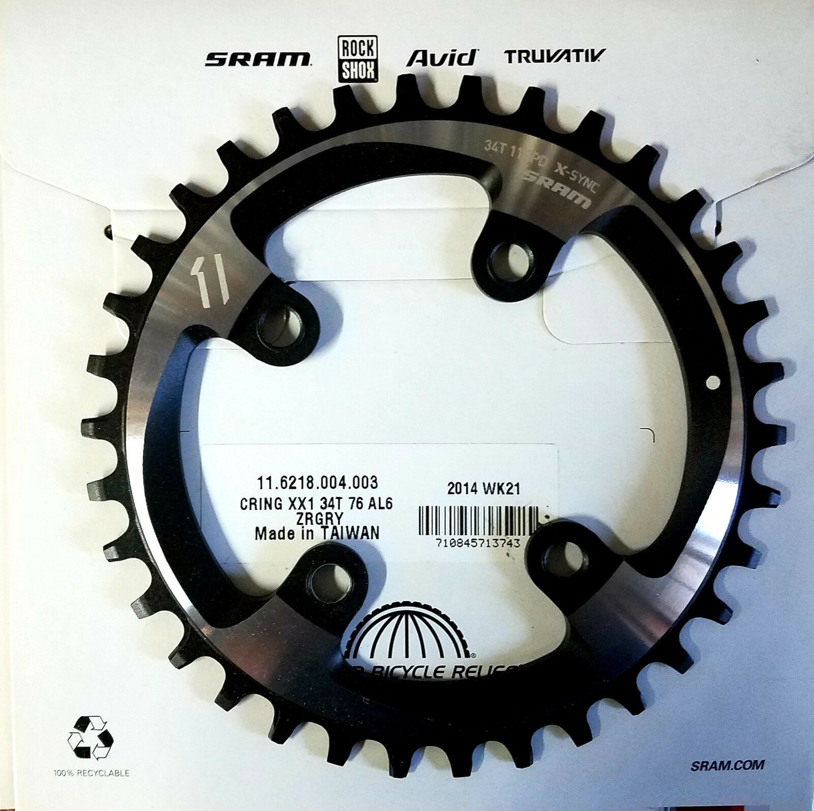 New SRAM XX1 X-Sync Chainring 11 Speed 34T 76mm BCD