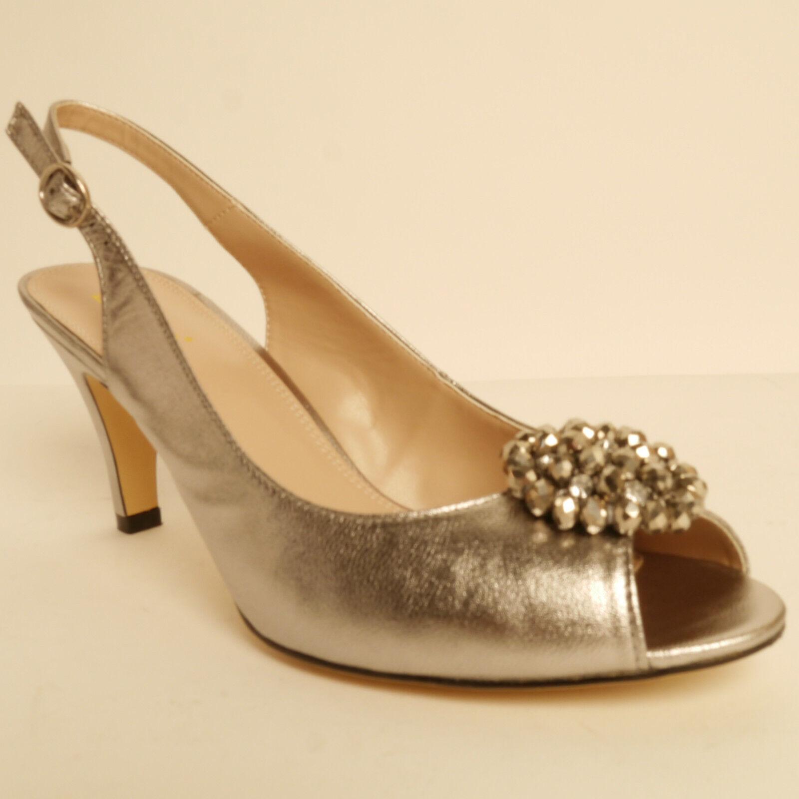 Lotus Fascination Open Back Peep Toe Dress Shoe Pewter Patent Leather