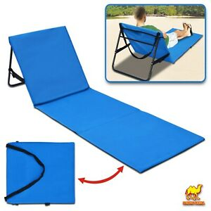 Details about Portable Reclining Lounger Beach Chair Backrest Garden  Adjustable Mat 19x57 inch