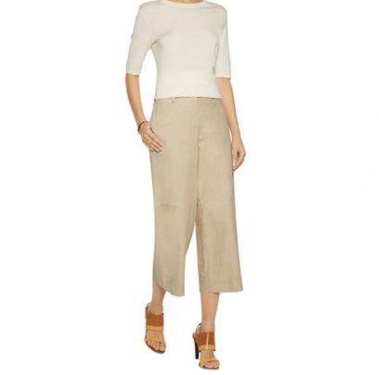 Theory Tennen Cropped Suede Wide-Leg Pants Size 2 MSRP